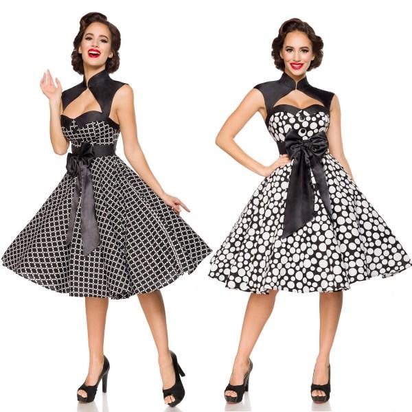 d0c9d01a95632c Rockabilly Kleid Vintage-Kleid mit Bolero Damen Belsira schwarz/weiß 50er  Jahre