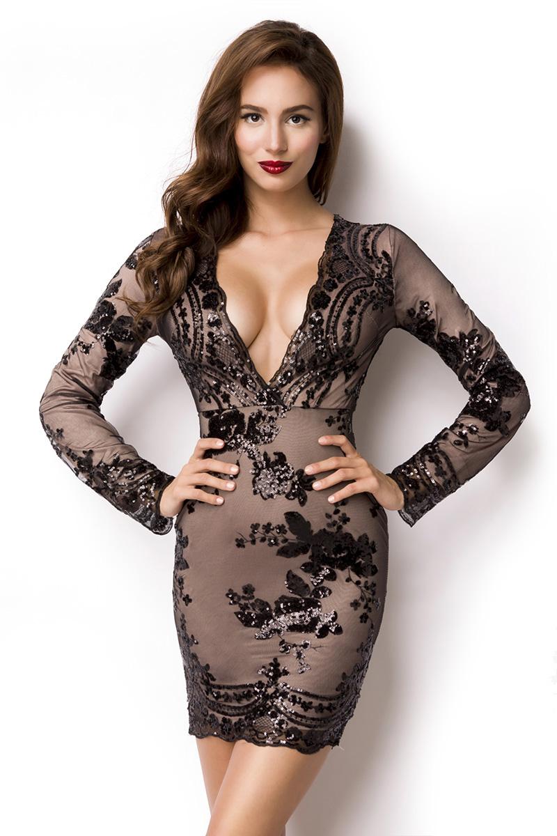 sexy Pailletten-Kleid tiefer V-Ausschnitt florales Muster aus ...