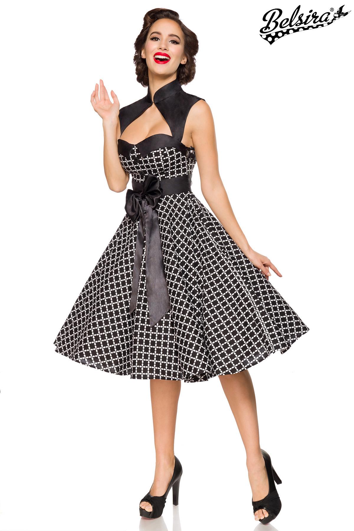 Rockabilly Kleid Vintage-Kleid mit Bolero Damen Belsira schwarz/weiß ...