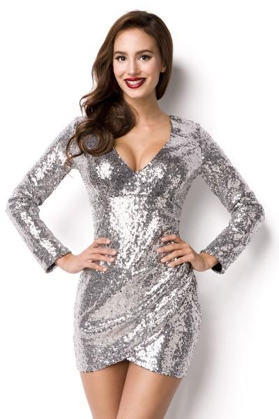 Pailletten Kleid Kleid für Silvester Outfit Pailettenstoff kurzes ...