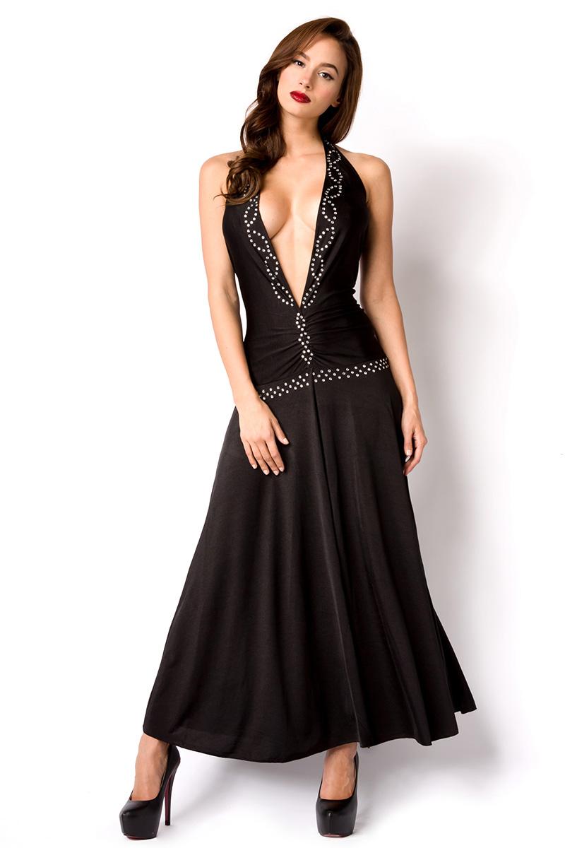 langes Kleid sexy Neckholder Kleid schwarz S-L mit Strass Silvester ...