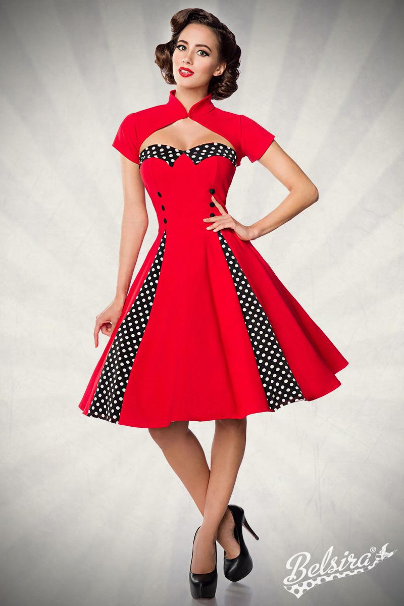 Details zu Vintage-Kleid mit Bolero trägerloses Kleid Jäckchen Rockabilly  17er Jahre Stil