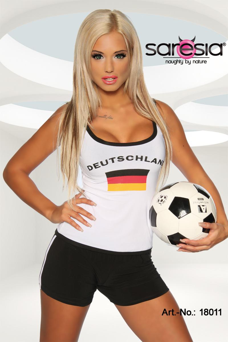 Trikot-Tank-Top Top Trikot-Look WM Shirt Damen Deutschland Fußball Trikot Top WM