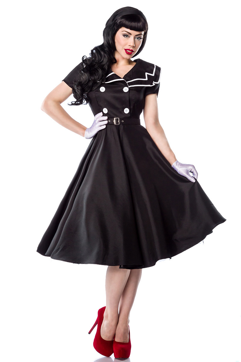 rockabilly kleid hochwertiges satin kleid 50er jahre stil schwarz matrosenkragen ebay. Black Bedroom Furniture Sets. Home Design Ideas